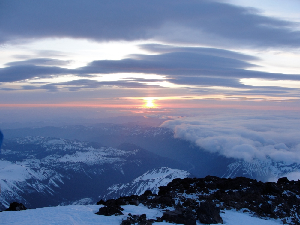 I would later learn that the clouds in this photo from Rainier 2012 are the same that would produce the storm we were caught in.