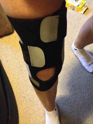 Using a knee brace with velcro straps (purchased at Target)