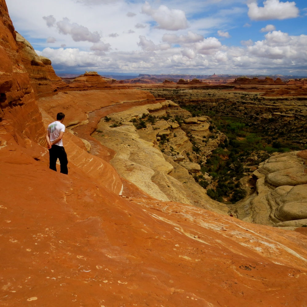 Garrett looking into Elephant Canyon (Photo by Anh Thai)