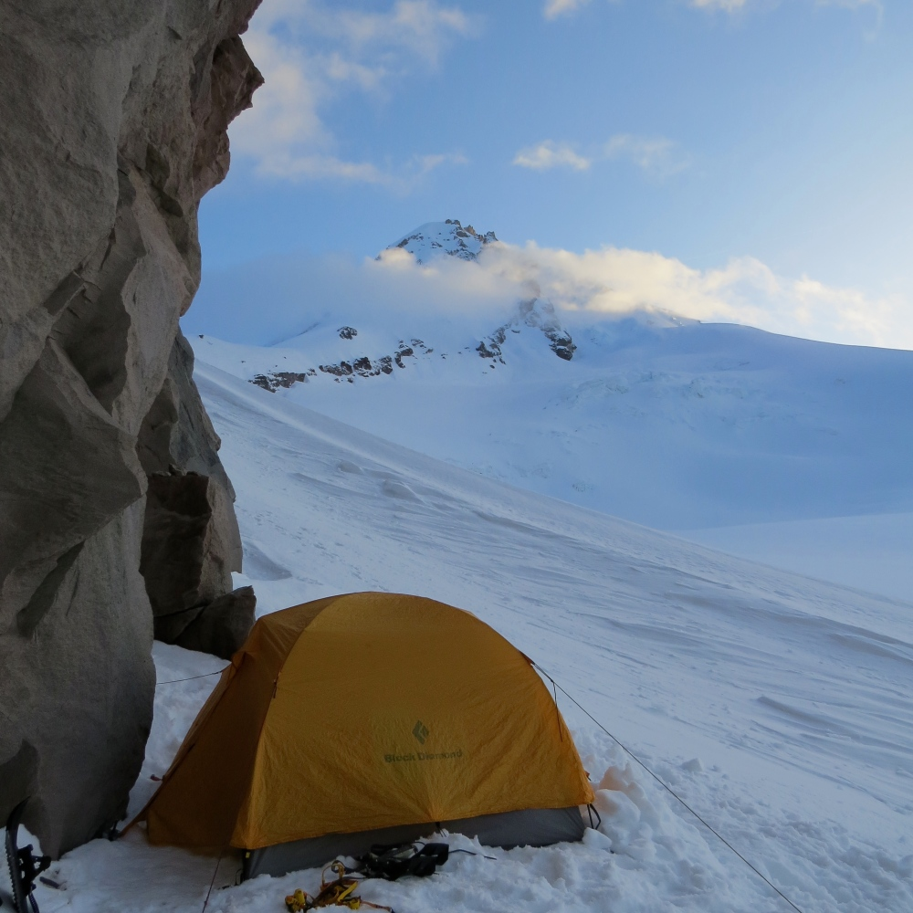Camp on the Cooper Spur under the summit