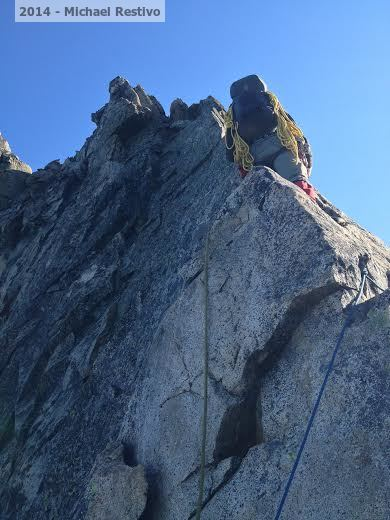 Climbing the arete pitch